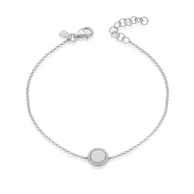 14K White Gold Diamond Disc Engravable Bracelet