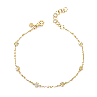 14K Yellow Gold Diamond 6 Disc Bracelet