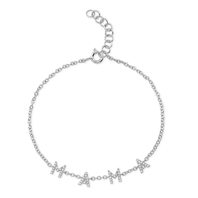 14K White Gold Diamond Mama Bracelet