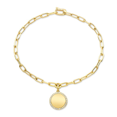14K Yellow Gold Diamond Disc Paperclip Bracelet