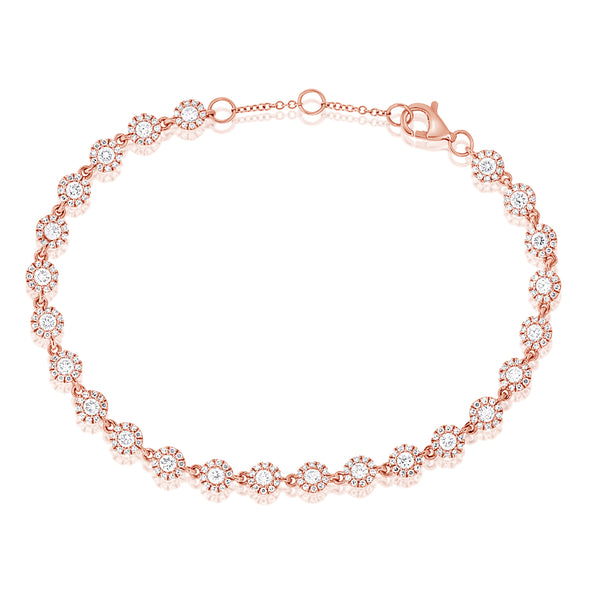 14K Rose Gold Diamond Halo Tennis Bracelet