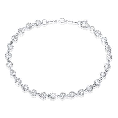 14K White Gold Diamond Halo Tennis Bracelet