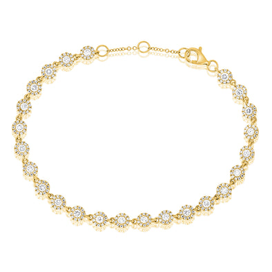 14K Yellow Gold Diamond Halo Tennis Bracelet