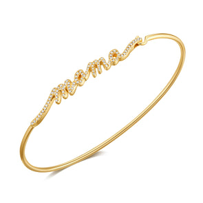 14K Yellow Gold Diamond Mama Bangle