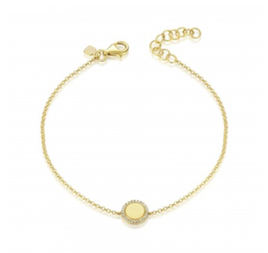 14K Yellow Gold Diamond Disc Engravable Bracelet