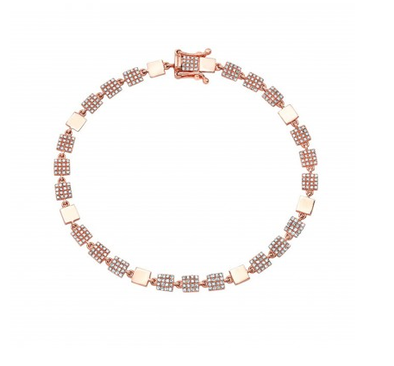 14K Rose Gold Petite Diamond Squares Bracelet