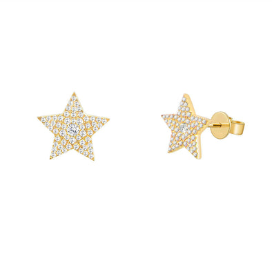14K Yellow Gold Diamond Pave Star Stud Earring