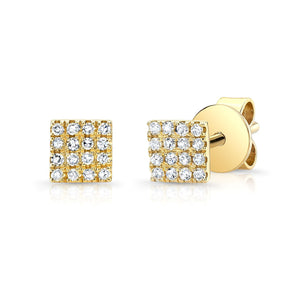 14K Yellow Gold Diamond Pave Mini Square Earrings