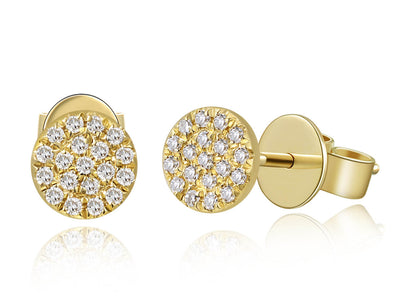 14k Yellow Gold Flat Mini Disc Diamond Earrings