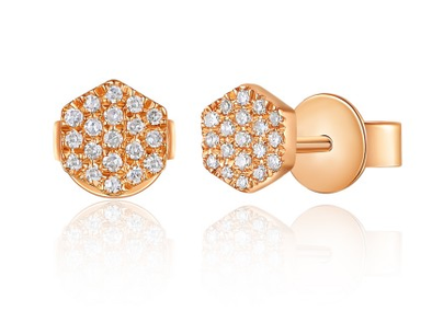 Rose Gold 14K Hexagon Diamond Studs