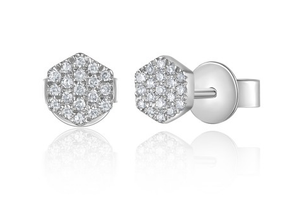 White Gold 14K Hexagon Diamond Studs