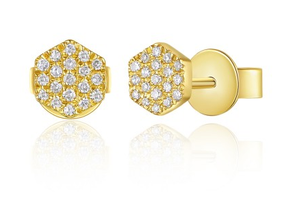 Yellow Gold 14K Hexagon Diamond Studs