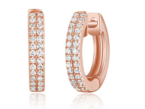 14K Rose Gold Diamond Petite Huggie Earrings