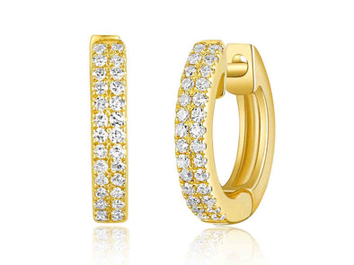 14K Yellow Gold Diamond Petite Huggie Earrings
