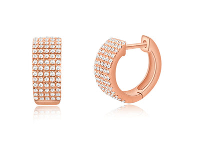 14K Rose Gold Diamond Thick Huggie Earrings