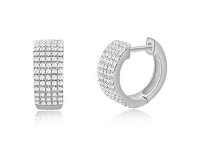 14K White Gold Diamond Thick Huggie Earrings