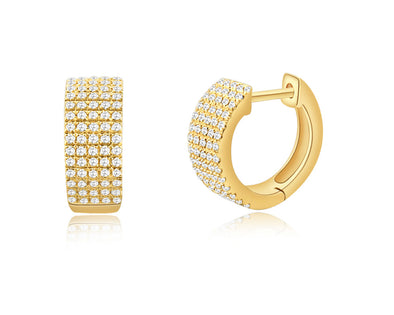 14K Yellow Gold Diamond Thick Huggie Earrings