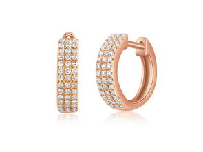 14K Rose Gold Diamond Triple Row Huggie Earrings