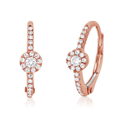 14K Rose Gold Diamond Huggie Halo Earrings