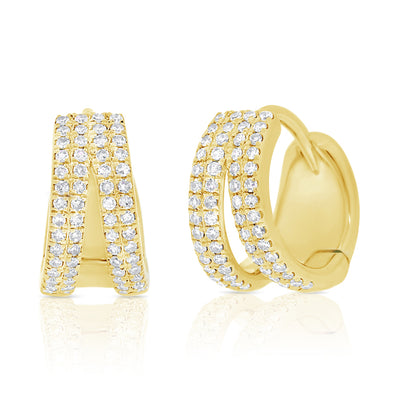 14K Yellow Gold Diamond Double Row Split Huggie Earrings