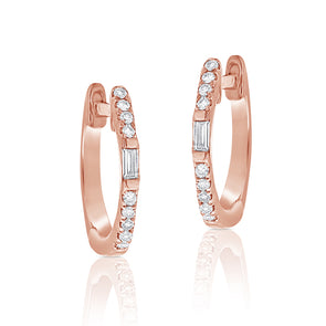 14K Rose Gold Round and Baguette Diamond Huggie Earrings
