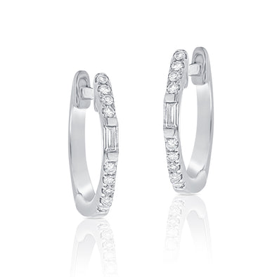 14K White Gold Round and Baguette Diamond Huggie Earrings