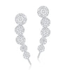 14K Rose Gold Diamond Five Halo Ear Climber Earrings