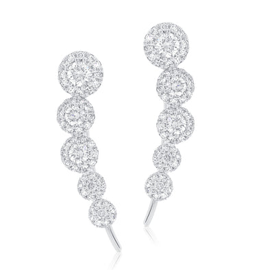 14K White Gold Diamond Five Halo Ear Climber Earrings