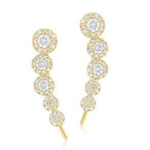 14K Yellow Gold Diamond Five Halo Ear Climber Earrings