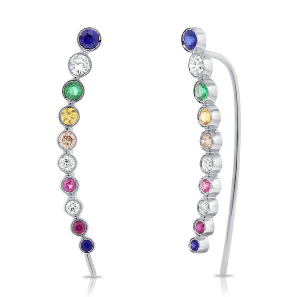 14K White Gold Colored Stone Ear Climbers