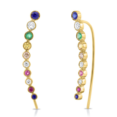14K Yellow Gold Colored Stone Ear Climbers