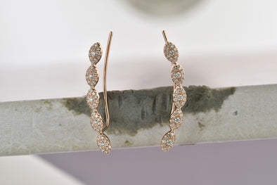 14K Yellow Gold Diamond Marquise Shape Ear Climber Earrings