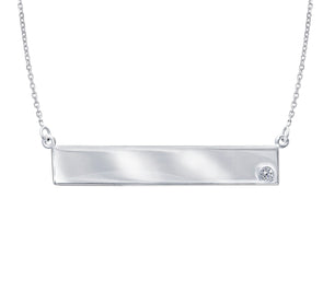 White 14K 0.02Ct R/D Diamond Engravable Bar Necklace