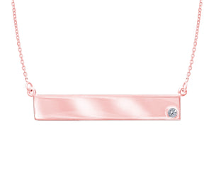 14K Rose Gold Diamond Engravable Bar Necklace