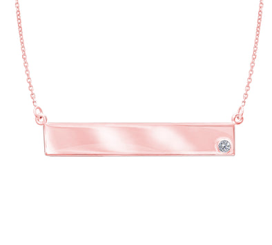 14K 0.02Ct R/D Diamond Engravable Bar Necklace