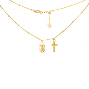 14K Yellow Gold Choker with Dangling Virgin Mary + Cross