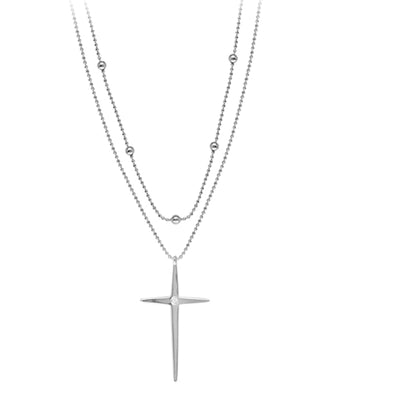 14k White Gold Beaded Double Strand Cross Necklace