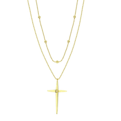 14k Yellow Gold Beaded Double Strand Cross Necklace