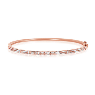 14K Rose Gold Round & Baguette Diamond Bangle