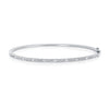 14K White Gold Round & Baguette Diamond Bangle