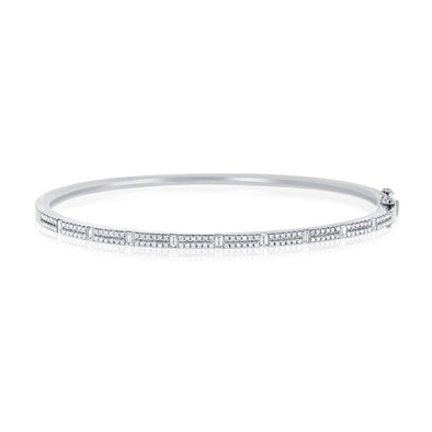 14K Round & Baguette Diamond Bangle