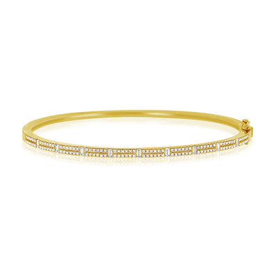 14K Yellow Gold Round & Baguette Diamond Bangle