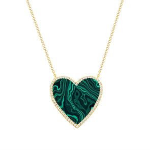 14K Yellow Gold Diamond + Malacite Large Heart Necklace