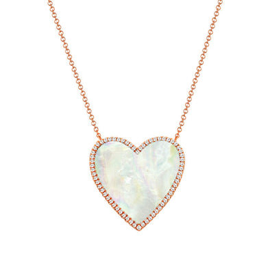 14K Rose Gold Diamond + Mother Of Pearl Large Heart  Necklace