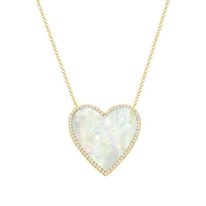 14K Yellow Gold Diamond + Mother Of Pearl Large Heart  Necklace
