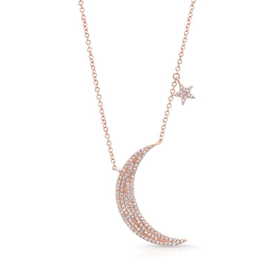 14K Rose Gold Diamond Moon & Star Necklace