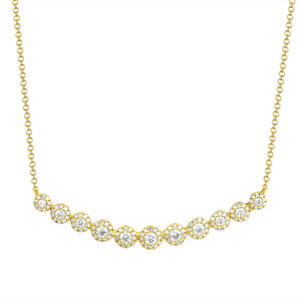 14K Yellow Gold Diamond Halo Curved Bar Necklace