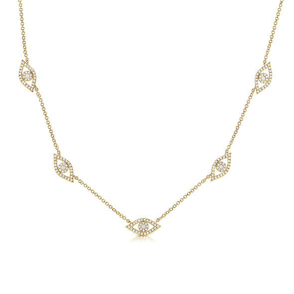 14K Yellow Gold Diamond Evil Eye Necklace