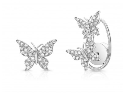 White Gold 14K Diamond Butterfly Earrings