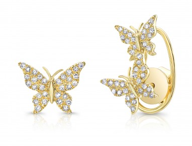 Yellow Gold 14K Diamond Butterfly Earrings